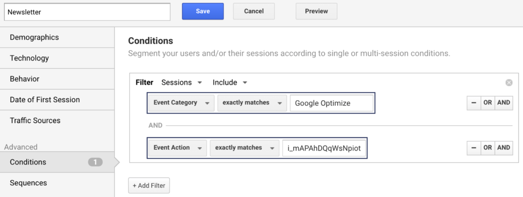 Google Analytics: Create Newsletter Segment with Event Category and Event Action