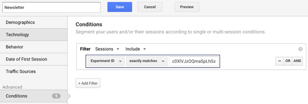 Google Analytics: Create Newsletter Segment with Experiment ID