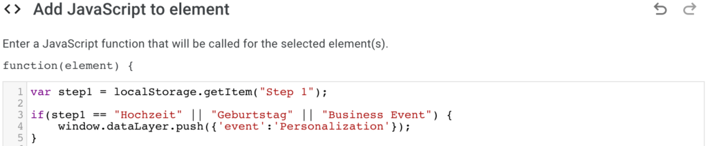 custom JavaScript code to push event to dataLayer