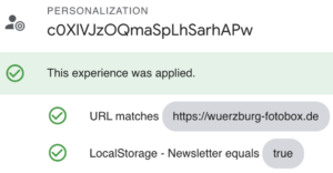 Check with Google Optimize Debugging Mode if personalization is running