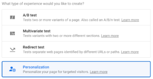Select Personalization in Google Optimize