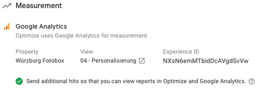 Turn on Google Analytics Measurement in Google Optimize