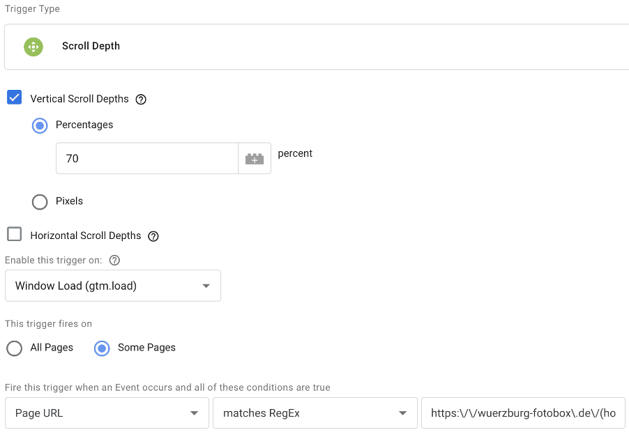 Google Tag Manager Scroll Depth Trigger