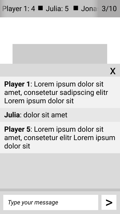 Mobile wireframe game room with open chat window